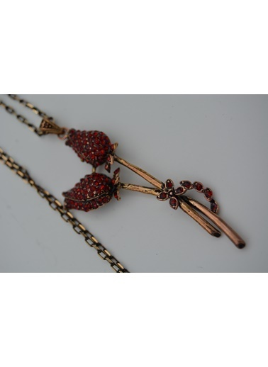 Stoneage Yakut Taşlı Kolye Çift Gonca Zincir Hediye Kırmızı